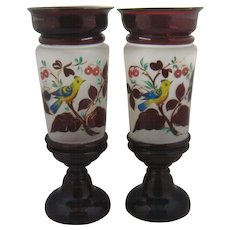 Pair Antique Ruby Flashed Footed Vases Cherries HP Bird