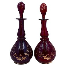 Pair Bohemian Ruby Flashed Scent Bottles Gilt Decoration Late 1800s