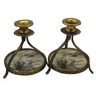Vintage Set Gilded Metal Satsuma Porcelain Candlesticks Rare Form