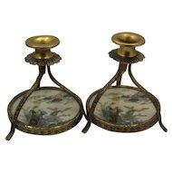 Vintage Set Gilded Metal Satsuma Porcelain Candlesticks Rare Form