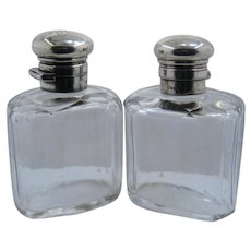 Pair Late 1800s English Cut Crystal Scent Bottles Sterling Mounts