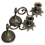 Pair Antique Piano Swivel Candlesticks Gilded Brass Weighted Base