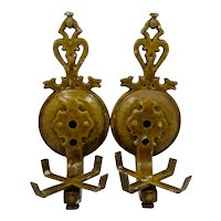 Pair Virden CI Dog's Head Light Sconces Holders Ca 1930