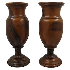 Pair Turned Walnut Wood Footed Vases Beautiful Color