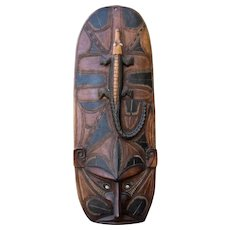 "Huge Papua New Guinea Spirit Mask w/ Alligator 52"" High"