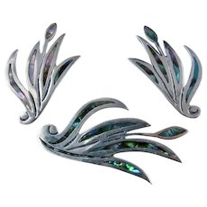 Patino Taxco Sterling Abalone Shell Inlay Pin & Earrings Set Calla Lily