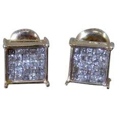 Square 14K Mosaic Inlay Pavé  Diamonds Stud Earrings