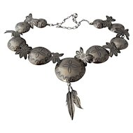 Navajo Sterling Concho Butterfly Necklace Alfred Payton