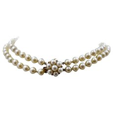 Double Strand Pearls Choker Necklace 14K Pearl Cluster Clasp 13""