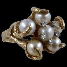 Big Vintage 14K Pearls Diamonds Cocktail Ring Naturalistic Sz 6 1/4