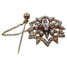 Victorian 14K Starburst Pearls Diamond Pin w/ Safety