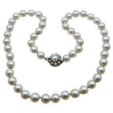 White Pearl Necklace 14K White Gold Clasp 14""
