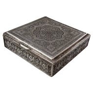 Vintage Persian Hand Chased Solid Silver Cigarette Box Iran