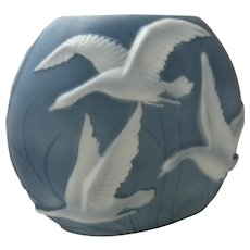 Large Phoenix Glass Pillow Vase w/ Geese White on Blue 1930s