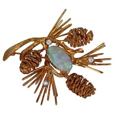 Ca 1960s 14K Pinecone w/ Opal & Diamonds Pin by Carl D. Lindstrom