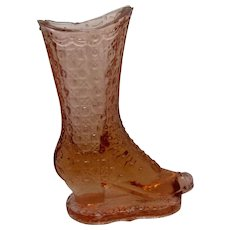 Victorian Pink Glass Boot Vase Bouquet Holder Findlay Glass Co