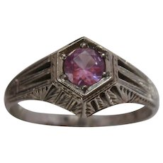 Art Deco 14K WG Pink Sapphire Ring 5/8 Carat Sz 11