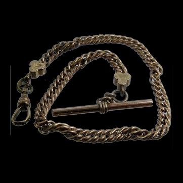 Victorian Albert Gold Fill Pocket Watch Chain w/ T-Bar & Club Finials