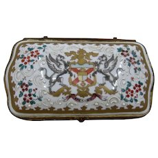 Porcelaine de Paris Gilded Armorial Crest Trinket  Box