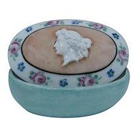Porcelain Cameo Trinket Dresser Box Hand Painted Ca 1930