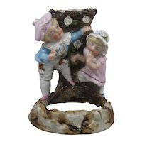 Germany Porcelain HP Spill Vase w/ Boy & Girl Conta Boehme
