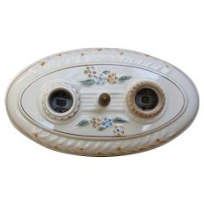 1930s Porcelair 2-Light Ceiling or Wall Fixture Flowers