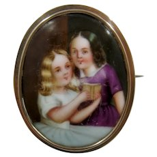 Antique Portrait Miniature Pin 2 Girls Painted on Porcelain Gold Fill