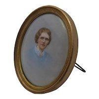 Ca 1910 HP Portrait Miniature on Porcelain Easel Frame