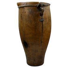 Antique Wood Vessel w/ Spout Sinew Binding