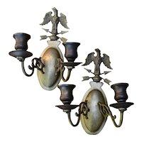Pair Vintage Brass Eagle Candlesticks Wall Sconces