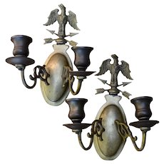 Pair Vintage Brass Eagle Candlesticks Wall Sconces