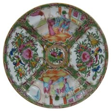 """Pair 1800s Chinese Export Rose Medallion Bowls 8 1/2"""""""