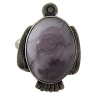 Sterling Purple Agate Thunderbird Ring Native American Sz 6 3/4