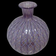 Purple Ribbon Latticino Art Glass Bud Vase Murano Italy