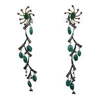 "Fabulous 22K Sterling Emeralds Rubies Rose Cut Diamonds Dangle Earrings 4"" Long"