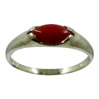 Vintage 14K Oxblood Coral Oval Cabochon Ring Sz 5 1/2