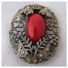 Ca 1930 Czech Red Glass in Brass Foliage Dress Clip
