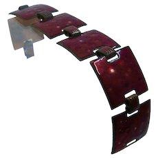 "1960s Red Enamel Copper Bracelet Square Links 7 1/4"""