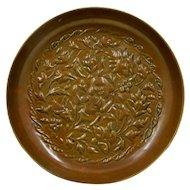 """Art Nouveau Repousse Brass Dish Foliage w/ Animal Head """"Flowers"""""""