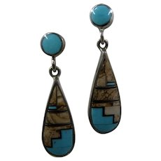 Navajo Sterling Turquoise Jasper Inlay Drop Earrings Rick Tolino