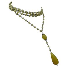 1920s Czech Lemon Glass Sautoir Flapper Necklace