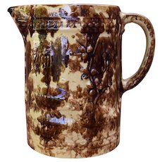 Large Rockingham Glaze Yellowware Pitcher Late 1800s