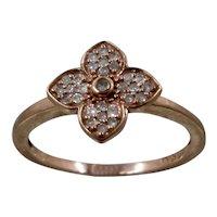 10K Rose Gold Diamonds Dogwood Flower Ring Sz 7