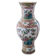 Old Chinese Export Rose Canton Vase Polychrome Enamels Gilt