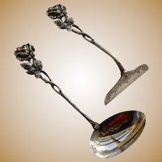 Feeding Spoon & Pusher Set 835 Silver Rose of Hildesheim by Christoph Bach