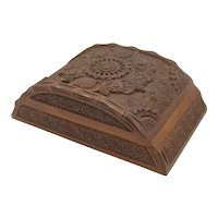 Hand Carved Walnut Wood Box Flowers & Bamboo Rounded Shape