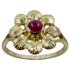 14K Yellow Gold Aster Ring Ruby Center Marked FSS Sz 6 3/4