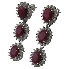 Spectacular Rubies & Diamonds Dangle Earrings in 14K White Gold