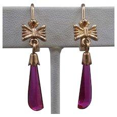 Russian 14K Rose Gold Ruby Red Spinel Dangle Earrings Soviet Era