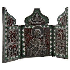 Antique Russian Orthodox Solid Silver Enamel Triptych Icon